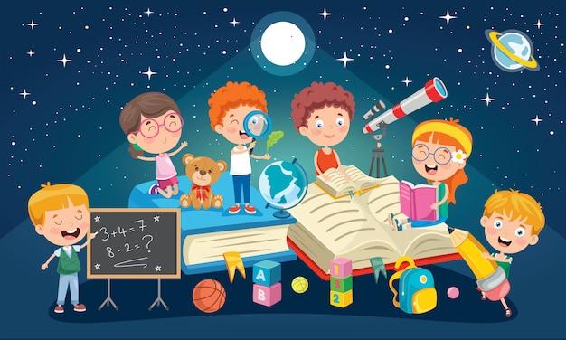 Onderwijs conceptontwerp met kleine kinderen