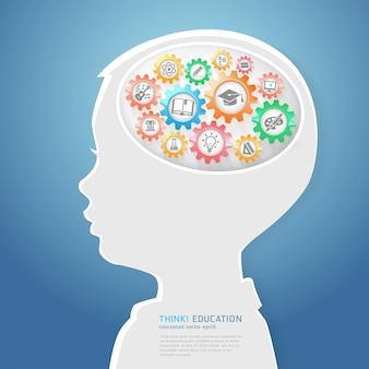 Onderwijs denken concept. kinderen denken