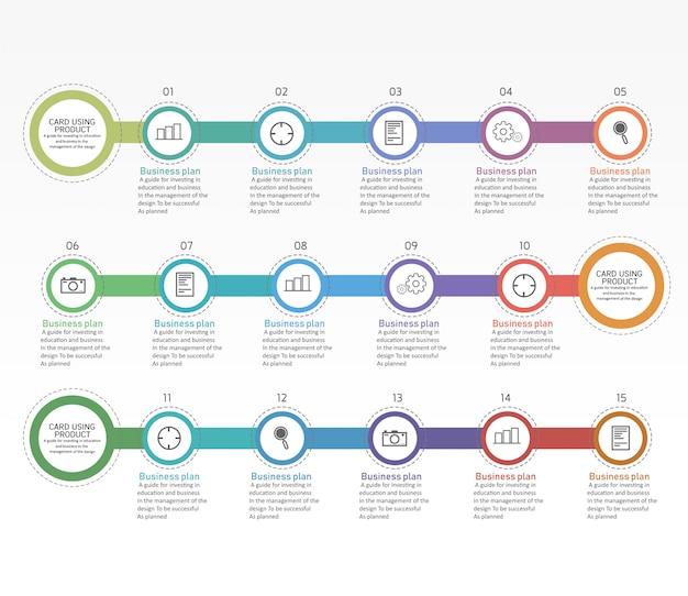 Onderwijs diagram. er zijn 15 stappen, niveau gebruik vectoren in het ontwerp