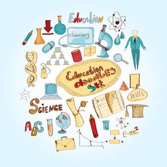 Onderwijs doodle gekleurd