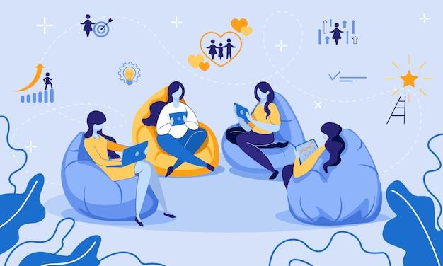 Onderwijs, e-learning, training op afstand voor vrouwen