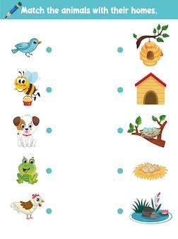 Onderwijs element matching game voor kleuters met dieren cartoon vectorillustratie