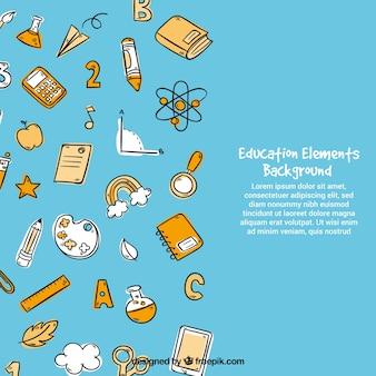 Onderwijs elementen achtergrond in hand getrokken stijl