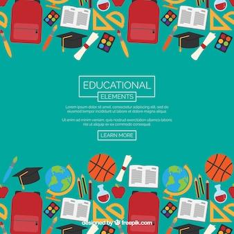 Onderwijs elementen achtergrond in vlakke stijl