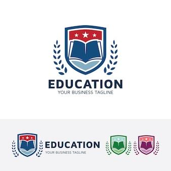 Onderwijs en academie logo sjabloon Premium Vector