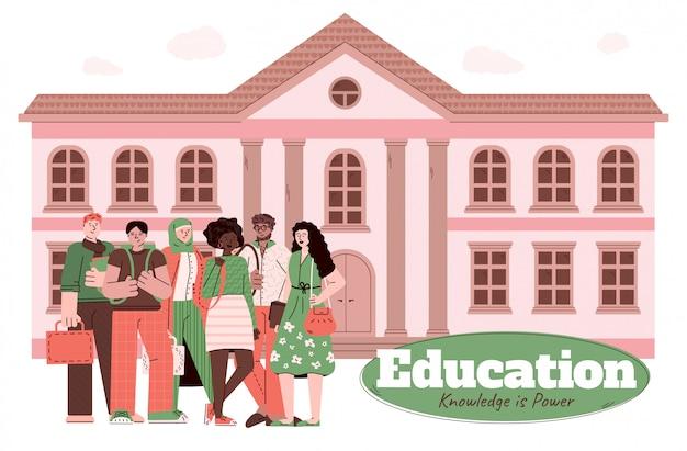 Onderwijs en kennisbanner met studenten, beeldverhaalillustratie.