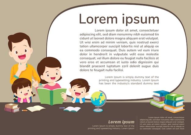 Onderwijs en leren, onderwijs concept met familieachtergrond