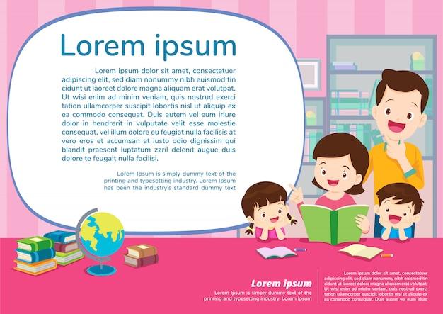 Onderwijs en leren, onderwijsconcept met familieachtergrond