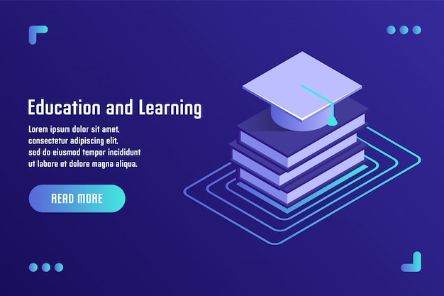 Onderwijs en leren, online training, afstandsonderwijs, tutorials, e-learning. vectorillustratie in vlakke isometrische 3d-stijl.