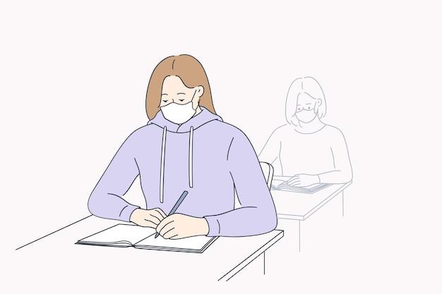 Onderwijs en leren tijdens coronavirus pandemie concept