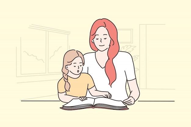 Onderwijs, familie lezen, lesgeven, moederschap, concept jeugd