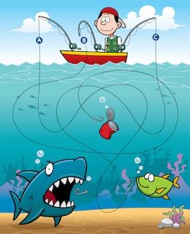 Onderwijs fisherman maze game