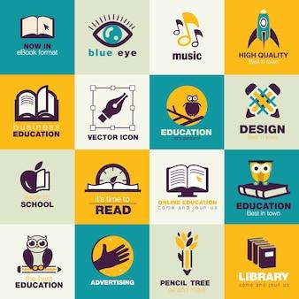 Onderwijs flat iconen pack