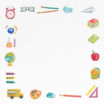 Onderwijs frame vector in aquarel terug naar school thema