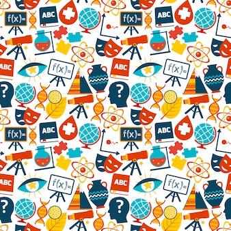 Onderwijs gekleurde naadloze patroon met wetenschap gebieden symbolen vector illustratie