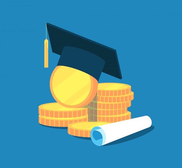 Onderwijs geld. college collegegeld afstuderen, beurs onderwijs investeringen. gouden munten, academisch cap-diploma. concept