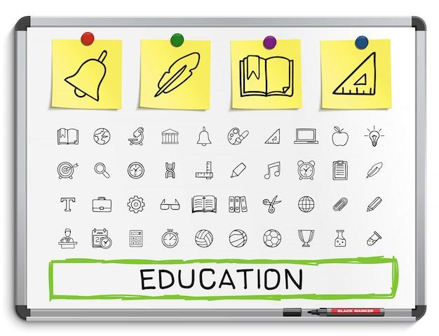 Onderwijs hand tekenen lijn pictogrammen. doodle pictogram set. schets teken illustratie op wit marker bord met papieren stickers. ziekenhuis, noodgeval, dokter, verpleegster, apotheek, medicijnen, gezondheidszorg.
