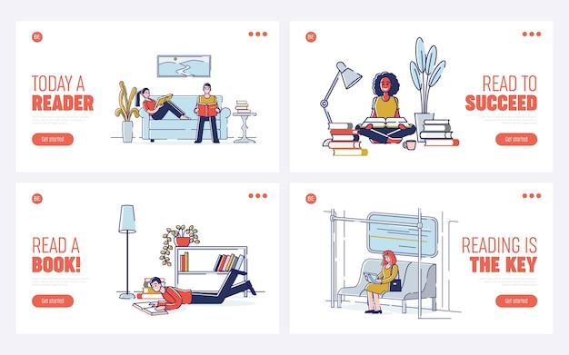 Onderwijs het lezen van boeken leren cartoon lineaire illustraties