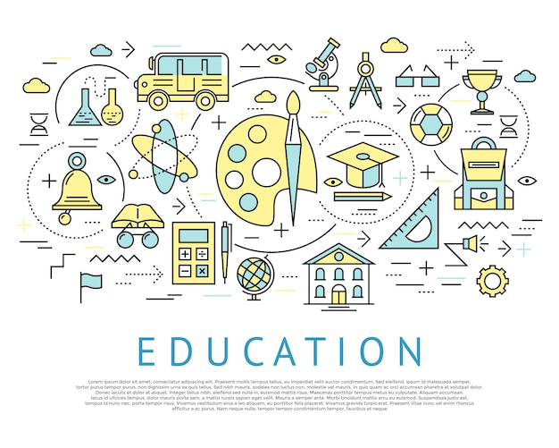 Onderwijs horizontaal concept