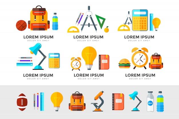 Onderwijs illustratie set. middelbare school-object in vlakke stijl op wit