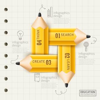 Onderwijs infographic ontwerp met gele potlood en notadocument elementen