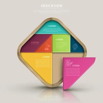 Onderwijs infographic ontwerp met kleurrijk tangram-element Premium Vector