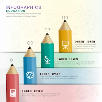 Onderwijs infographic ontwerpelementen met kleurrijke potloden