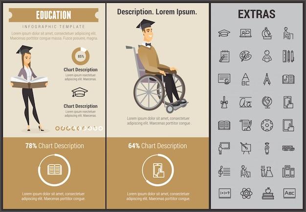 Onderwijs infographic sjabloon, elementen en pictogrammen