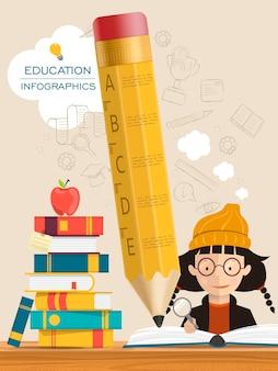 Onderwijs infographic sjabloonontwerp met boeken en potloodelementen