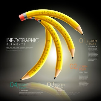Onderwijs infographic sjabloonontwerp met buigende potloden