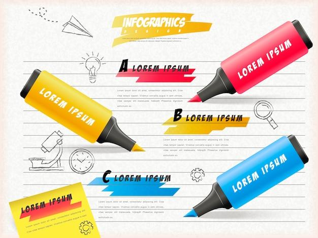 Onderwijs infographic sjabloonontwerp met markeerstiften op briefpapier
