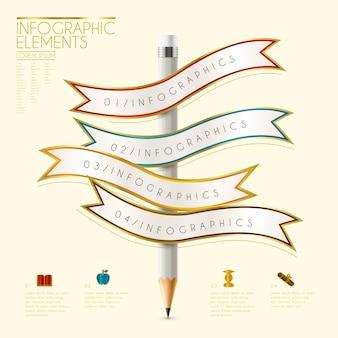 Onderwijs infographic sjabloonontwerp met potlood en lintelementen