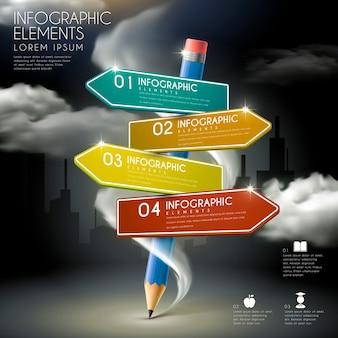 Onderwijs infographic sjabloonontwerp met potlood en verkeersbord