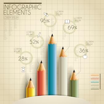 Onderwijs infographic sjabloonontwerp met potloodelementen