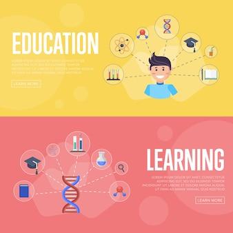 Onderwijs infographics banners