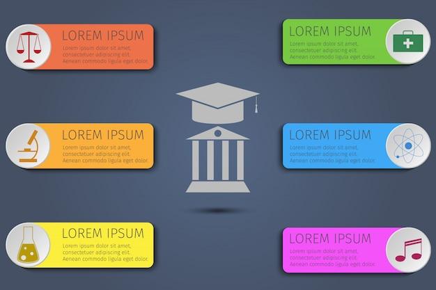 Onderwijs infographics. concept leren.