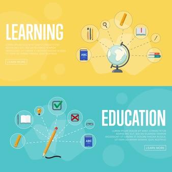 Onderwijs infographics concept sjabloon voor spandoek