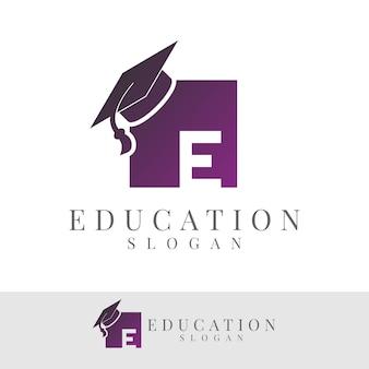 Onderwijs initiële letter e logo ontwerp