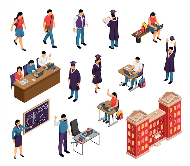Onderwijs isometrische tekens instellen met privéleraren universitaire hogeschool studenten professoren leraren lezingen afstuderen gebouw geïsoleerde vectorillustratie