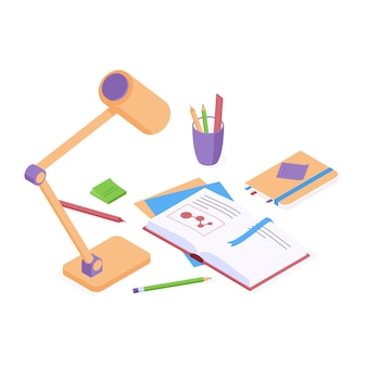 Onderwijs isometrische vector terug naar school concept met open papieren boek en bureaulamp
