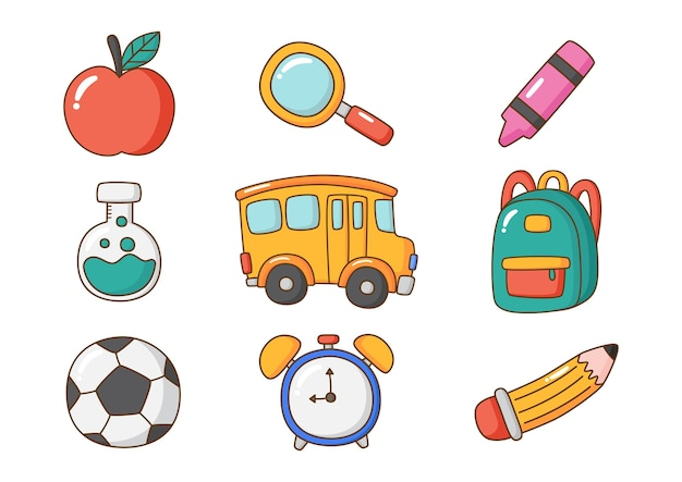 Onderwijs items school pictogram geïsoleerd op een witte achtergrond