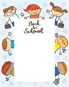 Onderwijs, kleuterschool, kinderen terug naar schoolframe