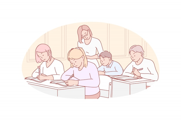 Onderwijs, lesgeven, school illustratie