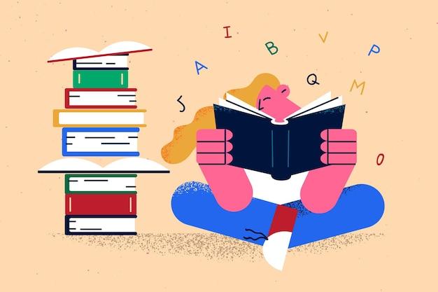 Onderwijs lezen boeken leren concept