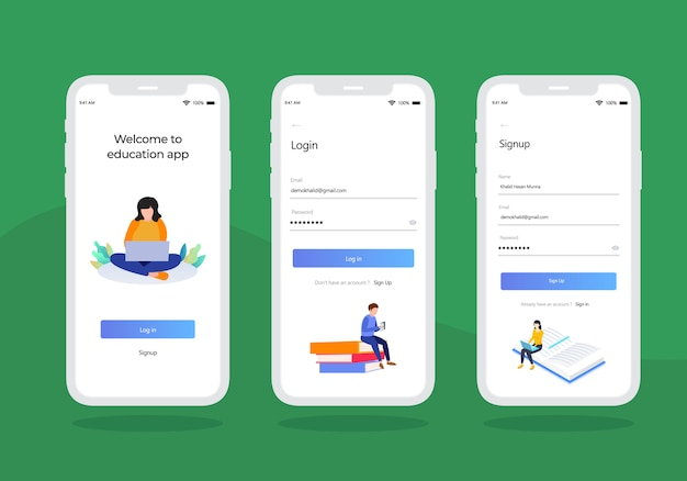Onderwijs-log-in-mobile-ui-kit-design