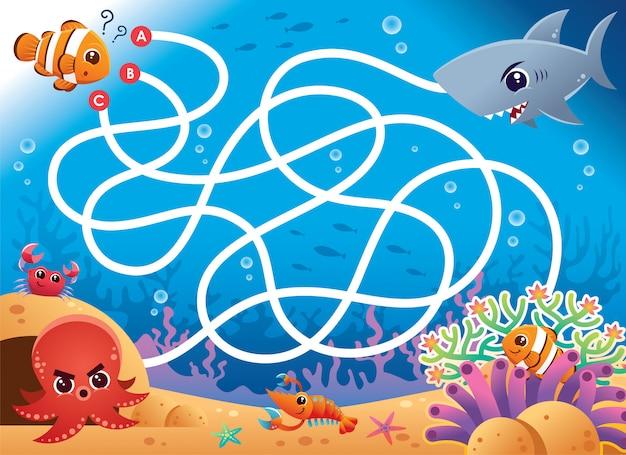 Onderwijs maze game clown vis voor baby. spel voor kinderen