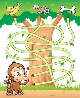 Onderwijs maze game monkey met voedsel