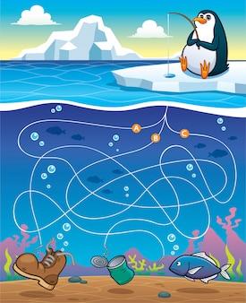 Onderwijs maze game penguin fishing