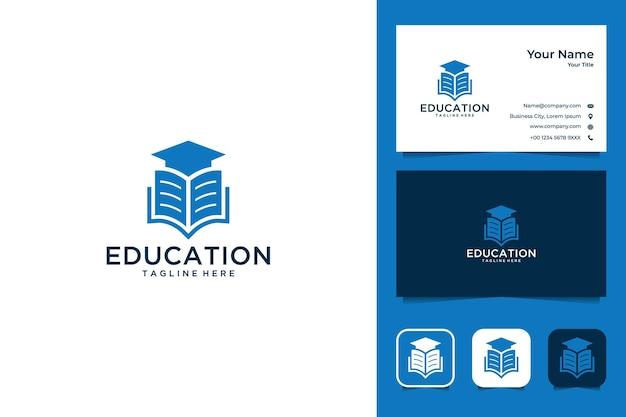 Onderwijs met boek en hoed logo-ontwerp en visitekaartje Premium Vector