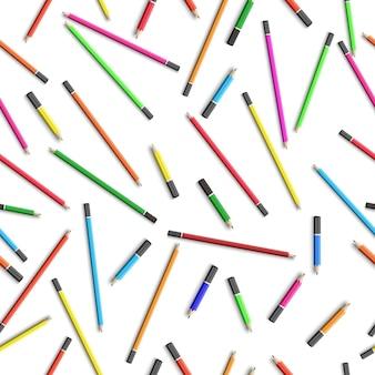 Onderwijs naadloos patroon met kleurrijke potloden